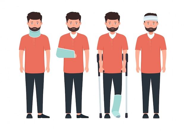 Homem com vários tipos de lesões.