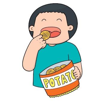 Homem comendo batatas