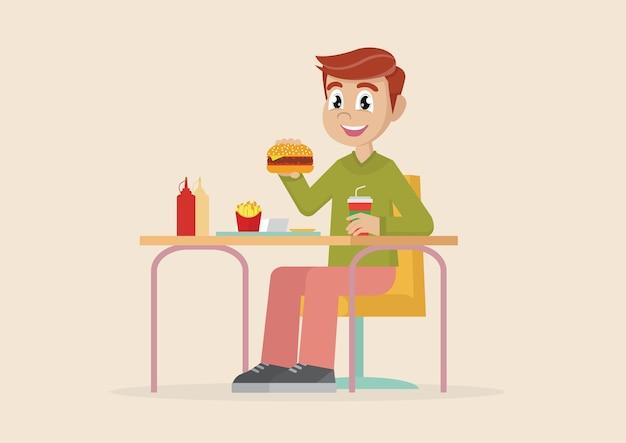 Homem comendo fast food.