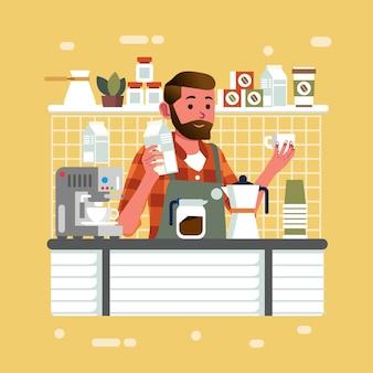 Homem como barista segurando leite e copo no bar do balcão do café fazendo cappucino para ilustração do cliente. usado para pôster, banner e outros