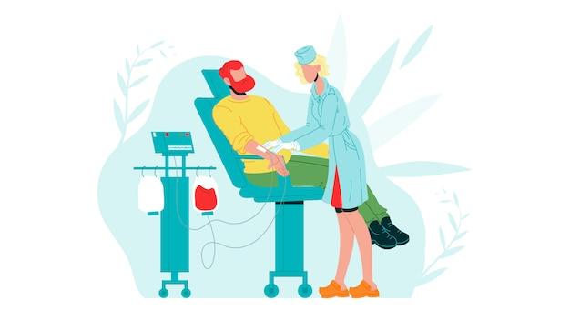 Homem como doador de sangue na doação no hospital