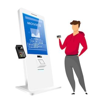 Homem comprando bilhete personagem sem rosto cor lisa. ilustração isolada dos desenhos animados do quiosque de auto-encomenda do cinema no fundo branco. painel de sensor interativo com terminal. tecnologia de pagamento