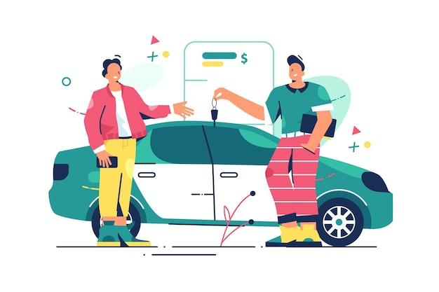Homem comprando ilustração de carro novo.