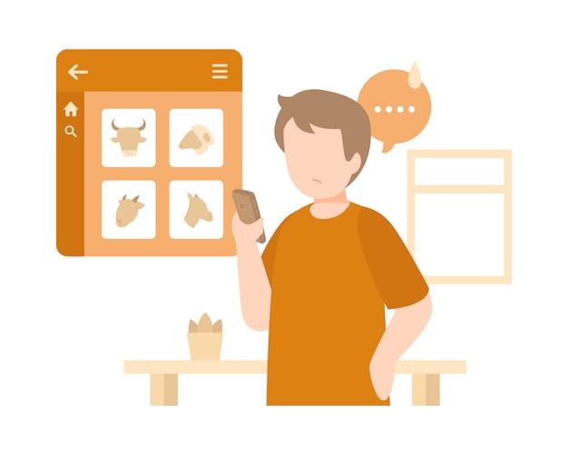 Homem comprar carne on-line usando sua ilustração de smartphone