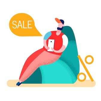 Homem compras on-line em casa ilustração vetorial