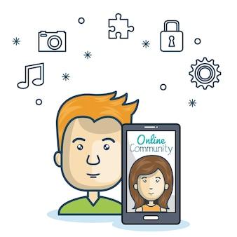 Homem comunidade on-line smartphone com design de mídia app