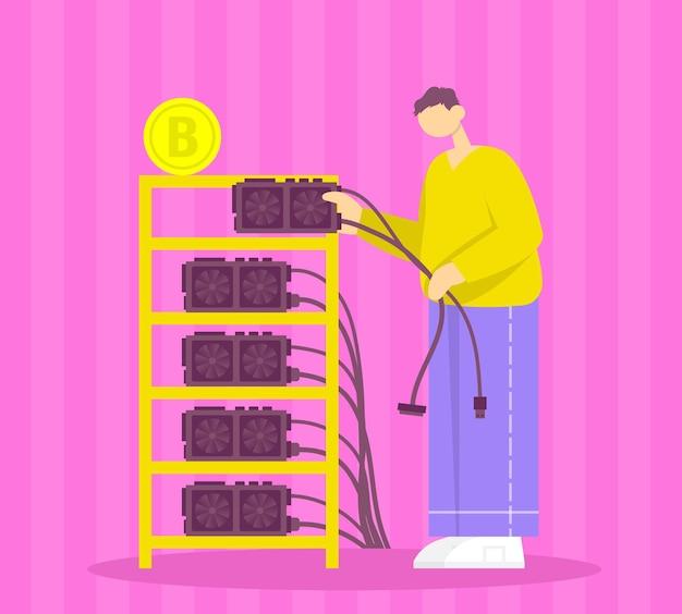 Homem conecta criptomoeda de negócios de investimento em fazendas de mineração e bitcoins dourados dinheiro virtual