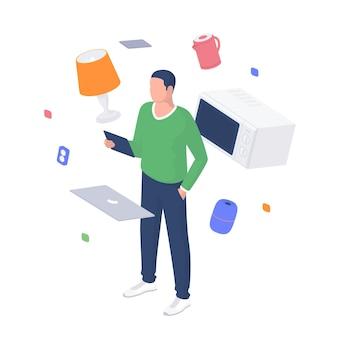 Homem configura o conceito isométrico de dispositivos de casa inteligente. personagem masculino com tablet está testando a conexão de eletrodomésticos do sistema online comum