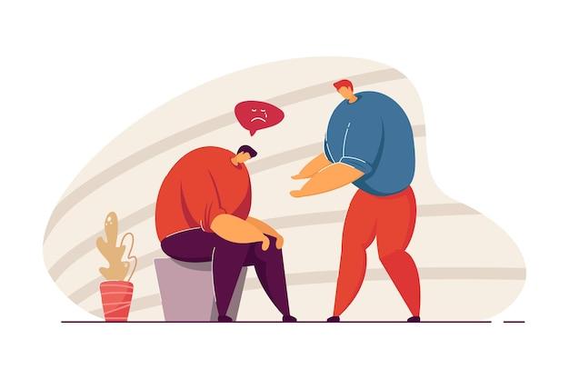 Homem confortando amigo triste. personagem masculina deprimida sentado com a cabeça para baixo ilustração vetorial plana. suporte, saúde mental, conceito de empatia para banner, design de site ou página de destino