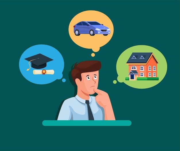 Homem confuso ao escolher carro doméstico ou acadêmico em ilustração de gerenciamento de planejamento financeiro