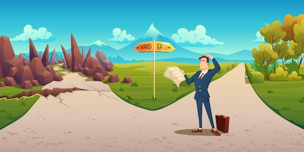 Homem confuso com mapa faz a escolha entre maneira difícil e fácil. paisagem dos desenhos animados com o empresário na estrada com sinal de direção, caminho cheio de curvas com pedras e estrada reta simples