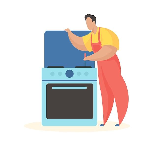 Homem conserta fogão de cozinha verificando queimadores e forno elétrico