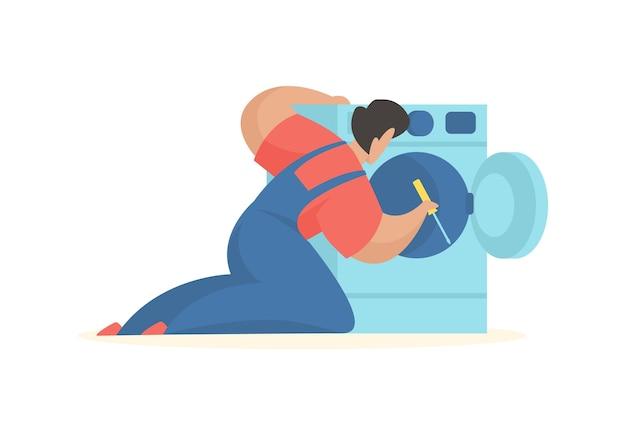Homem conserta máquina de lavar serviço manutenção profissional
