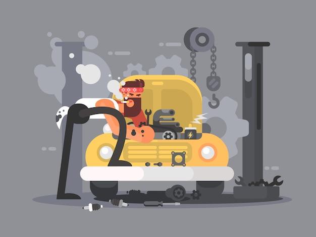 Homem consertando carro