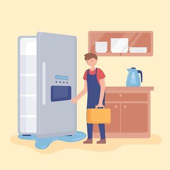 Homem consertando geladeira doméstica