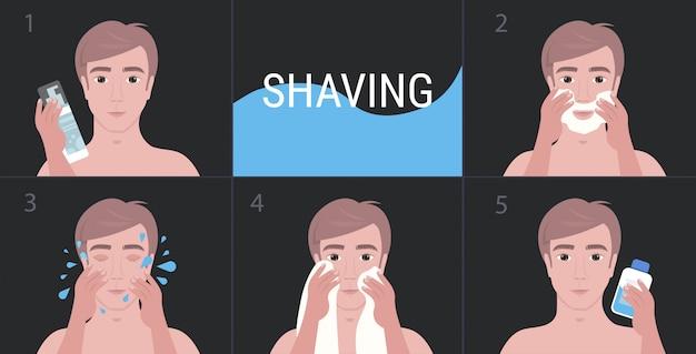 Homem considerável de etapas que barbeia com espuma e retrato de conceito de cuidado de pele de rosto de limpeza
