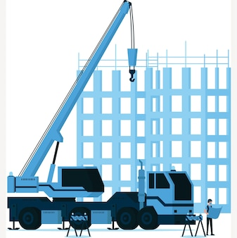 Homem construtor observando o mapa da construção em frente à ilustração do gancho do guindaste