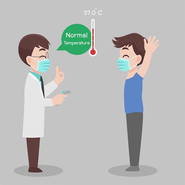 Homem consulte o médico para verificar se, temperatura para varredura de vírus corona, ele não está infectado, os resultados são temperatura normal