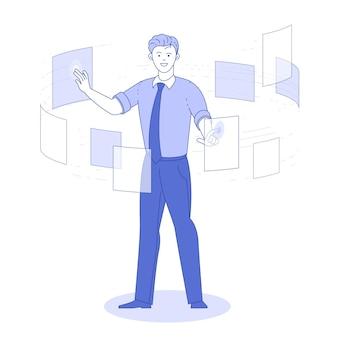 Homem, consultoria de documentos, conceito de tecnologia de negócios de sistema de dados de gerenciamento.