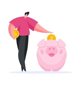 Homem contemporâneo positivo inserindo moedas em um grande cofrinho