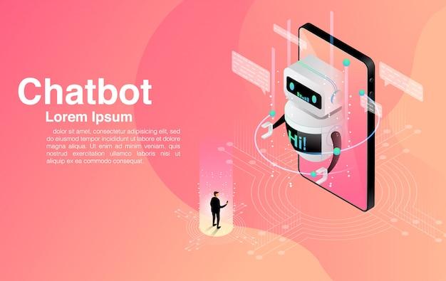 Homem conversando com o aplicativo chatbot. serviço de ajuda de diálogo. ai e negócios iot.