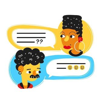 Homem conversando, fala com mulher. projeto do ícone da ilustração do personagem de desenho animado estilo moderno plana em vetor. isolado em um fundo branco. mensagem de diálogo, conceito de chat do mensageiro