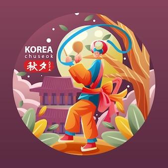 Homem coreano em dança folclórica nacional chuseok