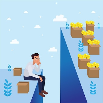 Homem corporativo triste preocupado com o fracasso e a diminuição dos negócios, o sucesso da liderança e o conceito de progresso na carreira, ilustração plana, homem de negócios.