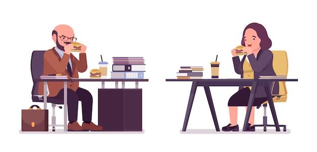 Homem corpulento e pesado e mulher curvilínea almoçando na mesa