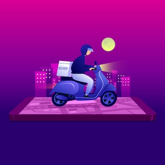 Homem correio equitação scooter com caixa de encomendas no fundo do telefone móvel e cidade.