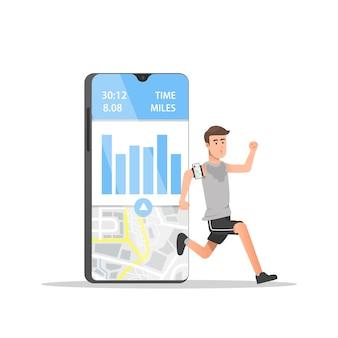 Homem correndo com aplicativos móveis