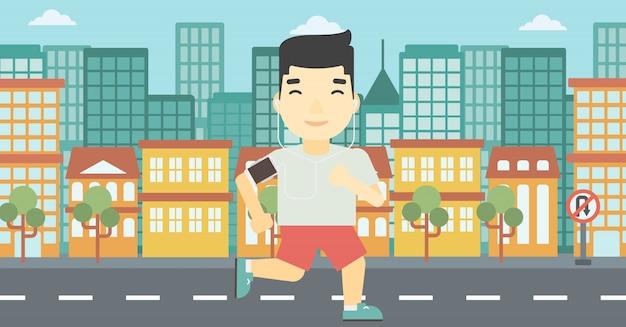 Homem correndo com fones de ouvido e smartphone.