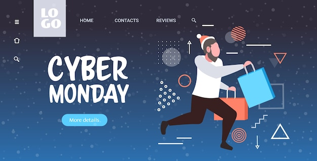 Homem correndo com sacolas de compras grande promoção de cyber segunda-feira