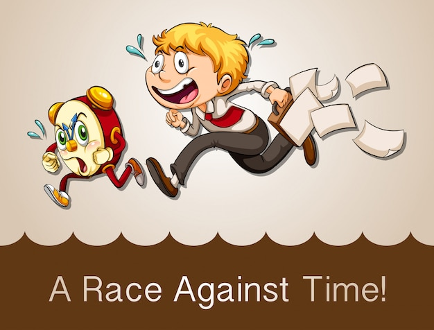 Homem, correndo, contra, relógio