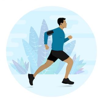 Homem correndo durante a ilustração de treinamento de fitness.