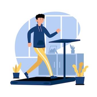Homem correndo em uma esteira
