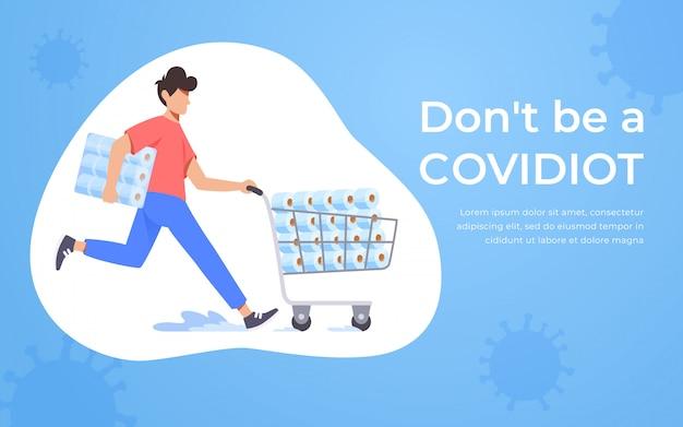 Homem correndo, empurrando o carrinho de supermercado cheio de papel higiênico. conceito de pânico de coronavírus. estoque de papel higiênico para quarentena em casa. covidiot