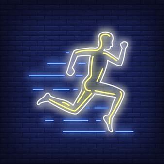 Homem correndo, néon, sinal