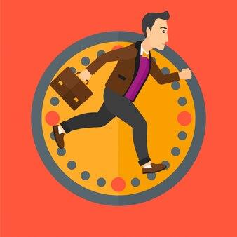 Homem correndo no fundo do relógio.