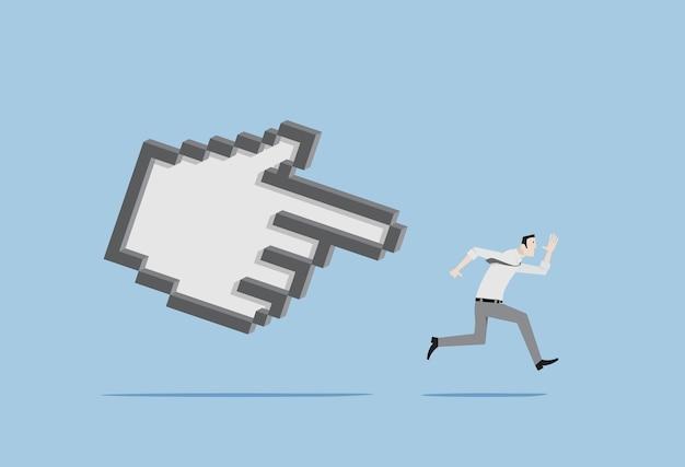 Homem correndo perseguido pelo cursor do mouse