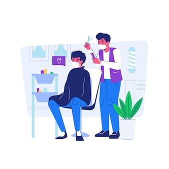 Homem corta cabelo na barbearia usa máscara durante a situação de pandemia covid19 estilo de desenho animado plano