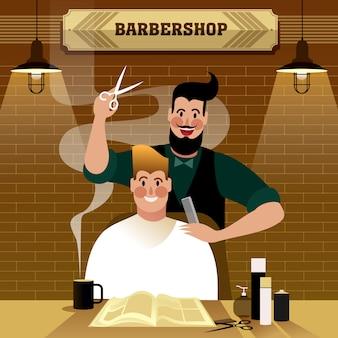 Homem cortando cabelo na barbearia, ilustração de vida urbana hipster.