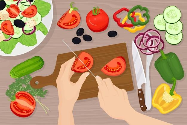 Homem cortando tomates na ilustração de uma tábua