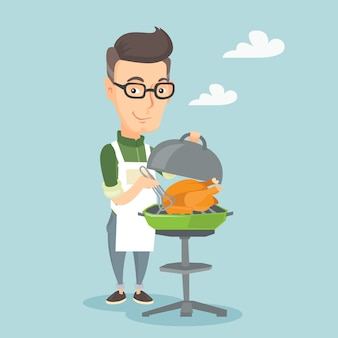 Homem cozinhando frango na churrasqueira.