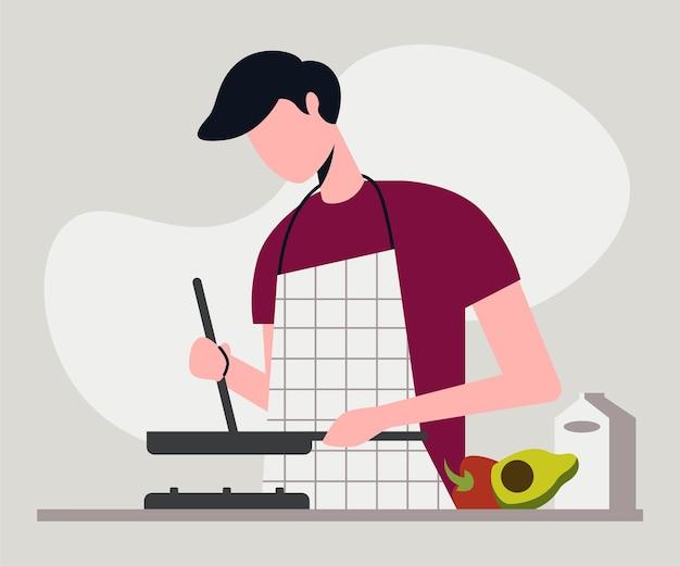 Homem cozinhando na cozinha