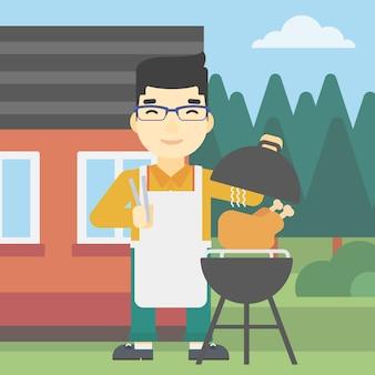 Homem cozinhar frango na churrasqueira.