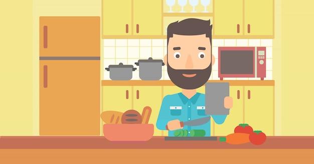 Homem cozinhar refeição.