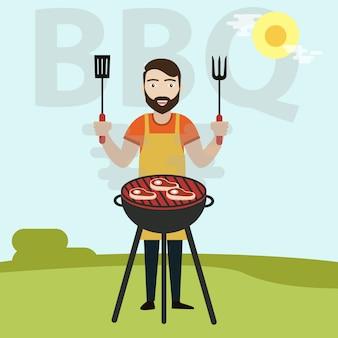 Homem, cozinheiro, churrasqueira carne, ligado, bbq