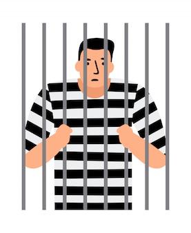 Homem criminoso na cadeia