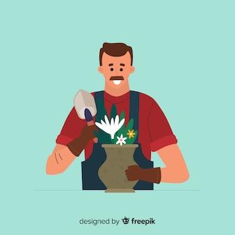 Homem, cuidando, de, plantas